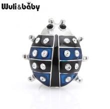 Wuli&baby Rhinestone Blue Beetle Brooches Women Alloy Ladybug Insects Enamel Brooch Pins