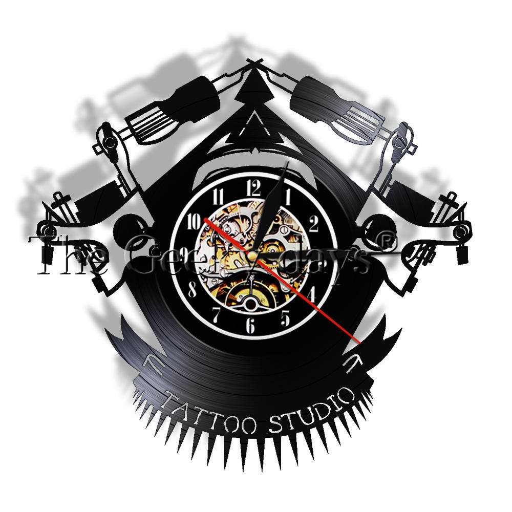 Vintage Custom Tattoo Vinyl LP Record Wall Clock Personalized Tattoo Studio Shop Tattoo Machine Quartz LED Wall Lighted Watch