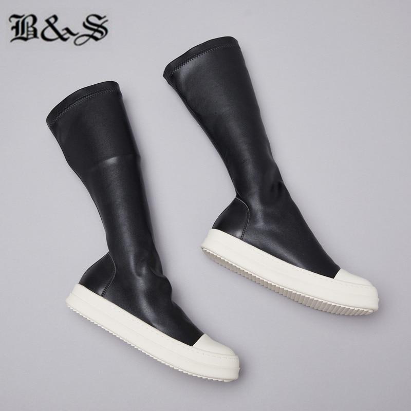 Black & Straat 38cm stretch stof + echt leer platte slip op trainer MID Kalf sok Laarzen nieuwe legergroen kleur hip hop laarzen - 5
