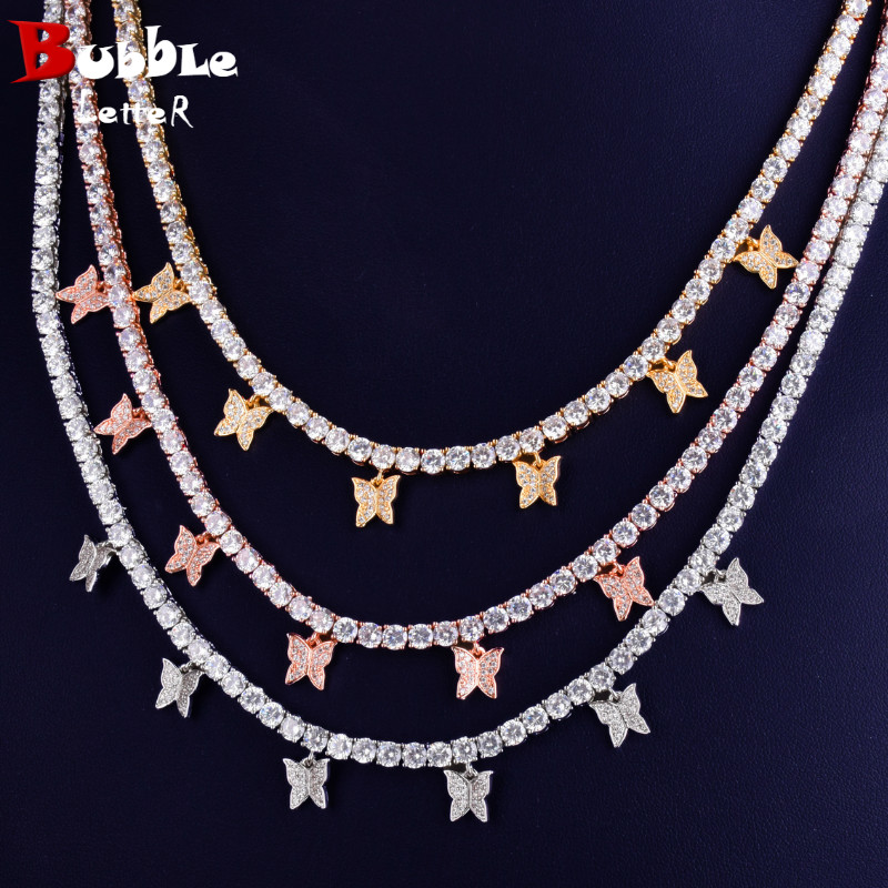 With butterfly Pendant 4mm 1 Row Tennis Chain Necklace Hip Hop Jewelry Gold Color Men Women Necklace Link adjustable(China)