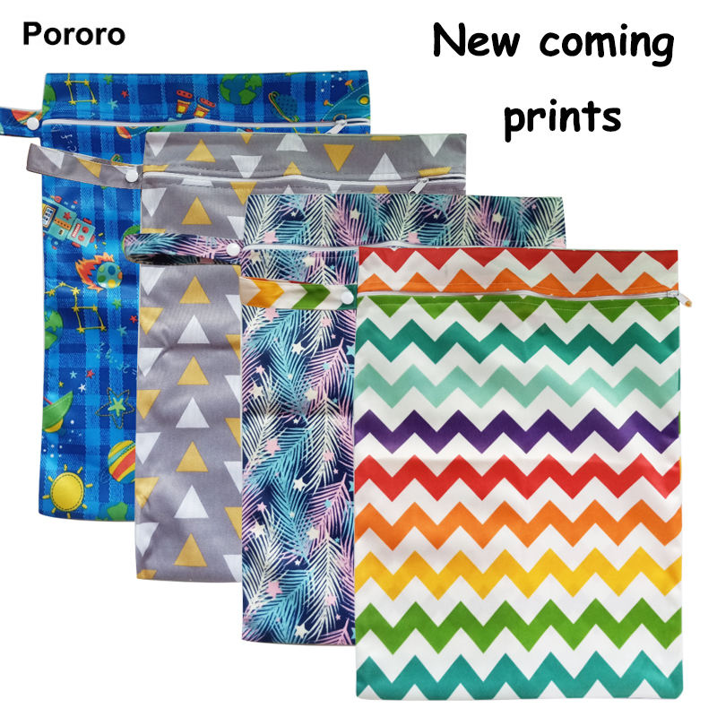 30*40cm PUL Printed Single Pocket Diaper Bag, Waterproof Wet Bag, Baby Nappy Bags Pail Liner, Laundry Bag For Baby Cloth Diaper