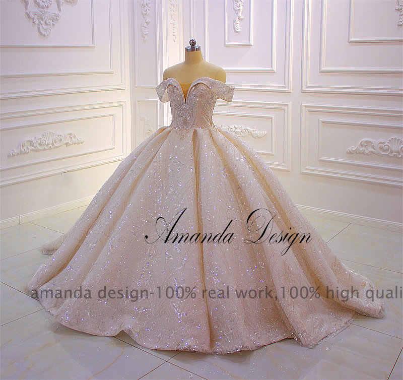 Wzór amanda vestido boda mujer invitada Off Shoulder błyszcząca suknia ślubna