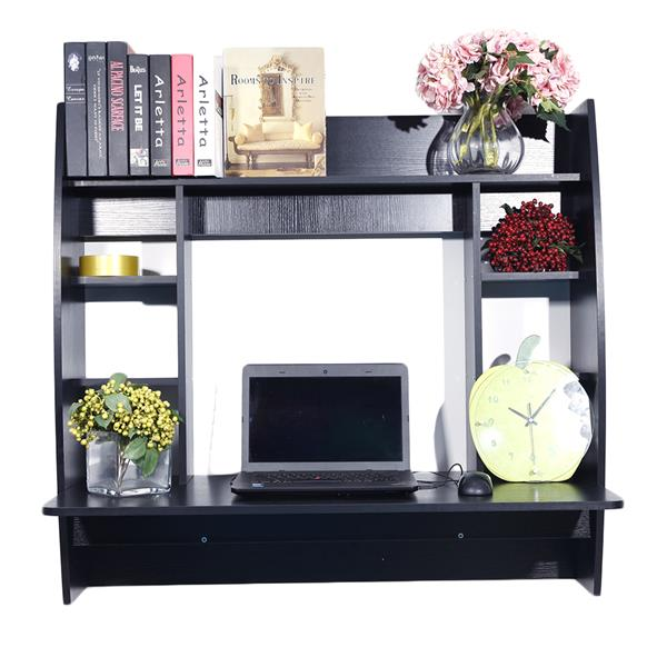 Exquisite Room-saving Wall Built-up Computer Desk Black Stylish,laptop Desk,study Table, Easy To Install .