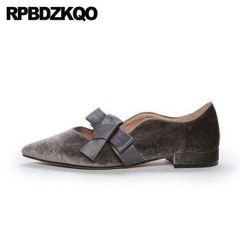 pointed toe slip on bow spring autumn velvet gold flats shallow ladies chinese designer shoes women luxury 2019 gray fashion