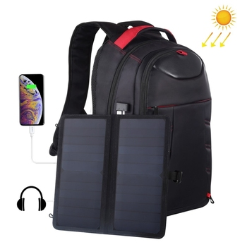 HAWEEL 14W Foldable Removable Solar Power Outdoor Portable Dual Shoulders Laptop Backpack, USB Output: 5V 2.1A Max
