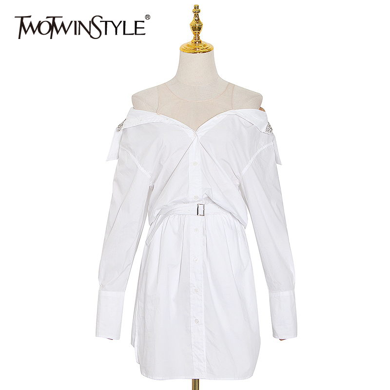 TWOTWINSTYLE Sexy Patchwork Mesh Dress For Women Diamonds V Neck Long Sleeve High Waist With Sashes Minimalist Dresses Female