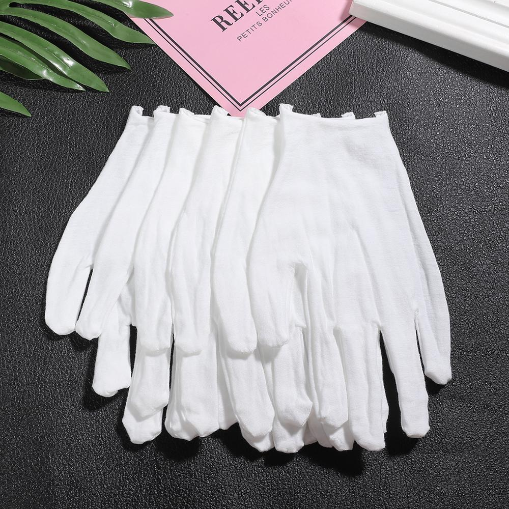 2 Pcs/lot White 100% Cotton Ceremonial Gloves For Male Female Serving / Waiters/drivers/Jewelry Gloves