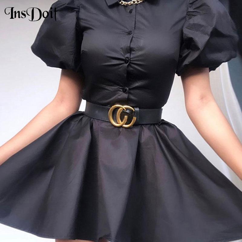 InsDoit Harajuku Female Buckle Leather Waist Belt Streetwear Punk Style Belt Casual Fashion Women Dress Accessories Belts