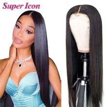 Lace Closure Human-Hair-Wigs Natural-Hair Supericon Straight Black Women 100%Brazilian