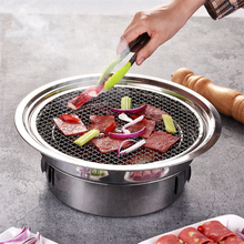 Korean Charcoal Barbecue Grill Stainless Steel Non-stick Barbecue Tray Grills Portable Charcoal Grill for Outdoor Camping bbq