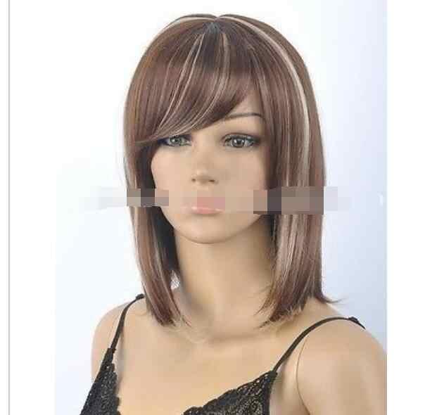 Suyushun3283HOT sprzedam + + + +>> nowa brązowa mieszana prosta krótka peruka do cosplay powrót do szczegółów produktu