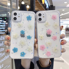 Funda de flores para iphone 11 Pro MAX Glitter funda transparente para iphone XR X XS Coque Soft TPU para iphone 6 7 8 Plus(China)