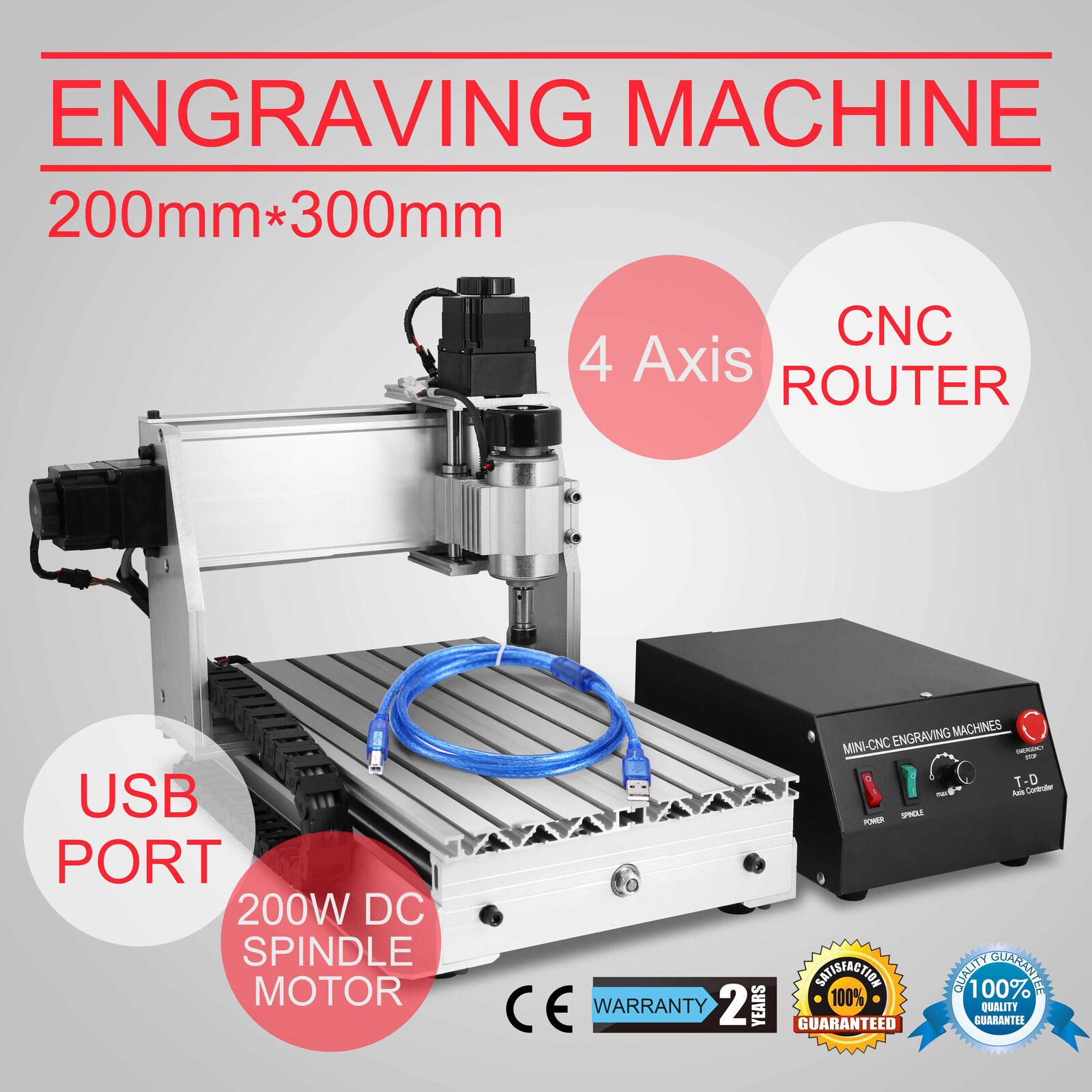 Multifunctional High-precision Engraving Machine 4AXIS Cnc 3020 Router Desktop 200W 3D