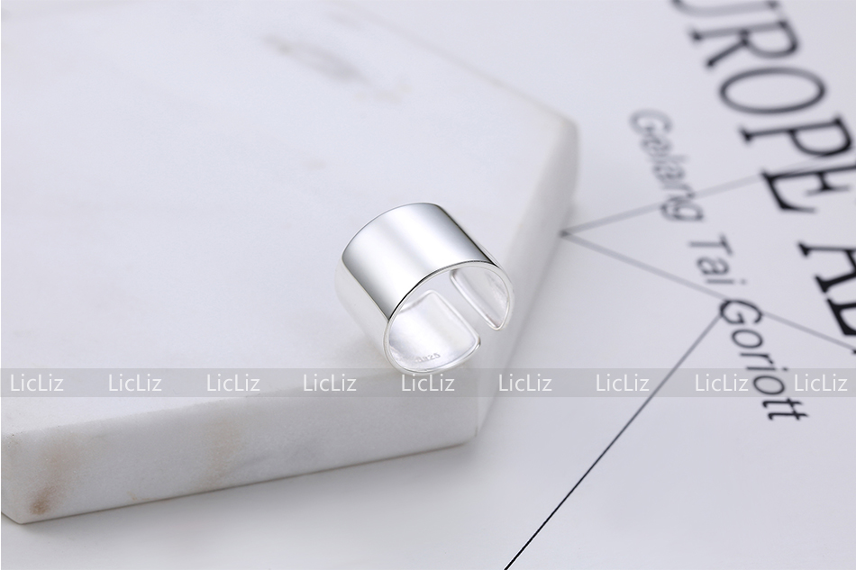 Haf933fe4d8a543e39ba350169efe6f53f LicLiz 925 Sterling Silver Open Adjustable Cuff Rings for Women Round Circle Ring Jewelry Anillos Plata 925 Para Mujer LR0323