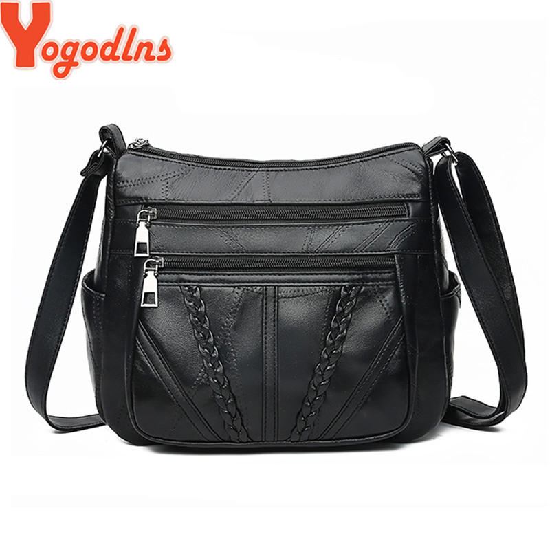 Yogodlns Genuine Leather Women Messenger Bags 2019 Luxury Sheep Skin Genuine Leather Shoulder Bag Ladies Crossbosy Bags