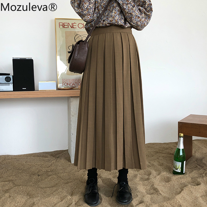BornSra  Vintage Women High Waist Streetwear Pleated Skirts 2020 Spring Casual Solid Mid-calf A-line Female Skirts Hundred Skirt