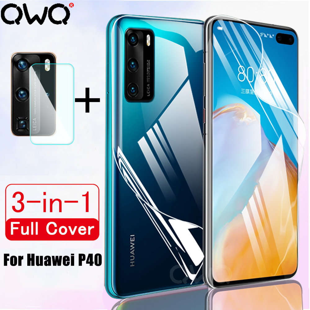 Full Cover Hydrogel Film For Huawei P40 P20 P30 Lite Screen Protector For Huawei P20 P30 P40 Pro Camera Lens Glass Film