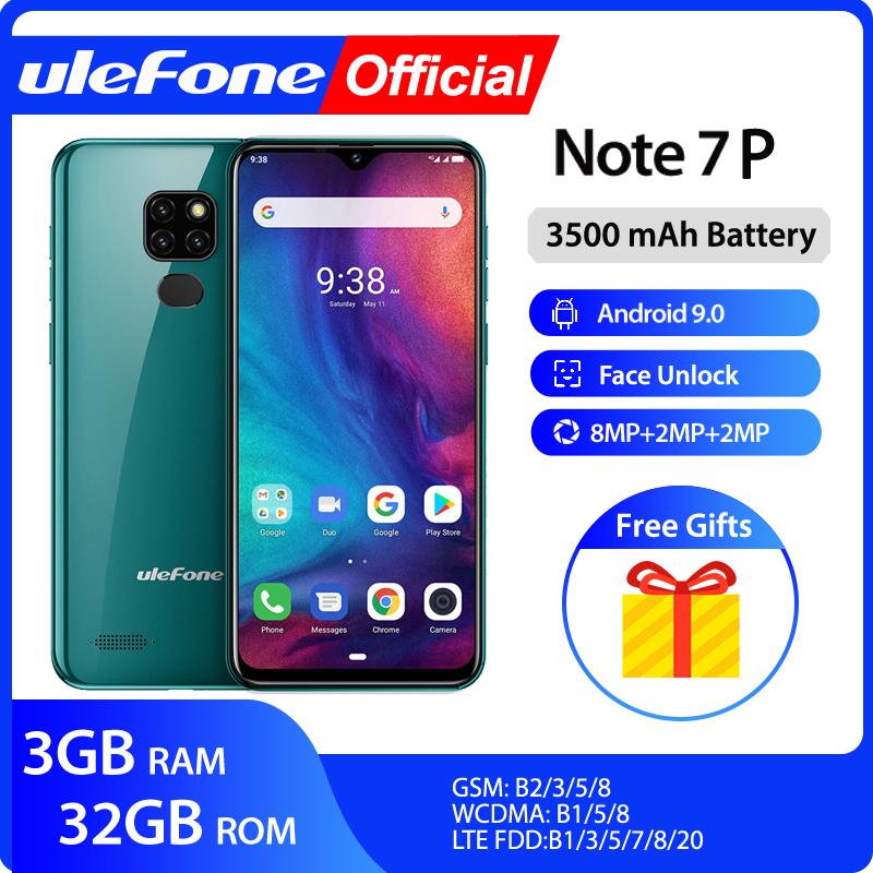 Ulefone Note 7P Smartphone Android 9.0 Quad Core 3500mAh 6.1 Inch Waterdrop Screen 3GB+32GB Mobile Phone