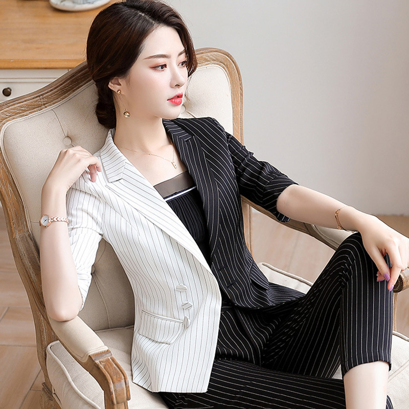 Autumn Clothing Business Suit Half-sleeve Shirt Stripes Suit New Style Women's College Student Interview Formal Wear Hotel Work