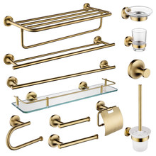 Gold Bronze Antique Bathroom Accessories Double Single Round Towel Bar Hanger Glass Shelf Towel Ring Glass Cup Paper Holder Set(China)
