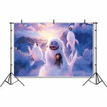 Personalized Abominable Snow Ball Photo Backdrop For Photo Studio Pink Curtain Purple Turquoise Birthday Party Backgrounds