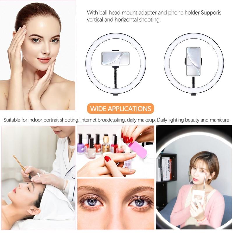 cheapest Desk phone holder LED Selfie Ring Light Studio Photography Photo Fill Ring Light with Table Holder for Makeup Video Live Studio