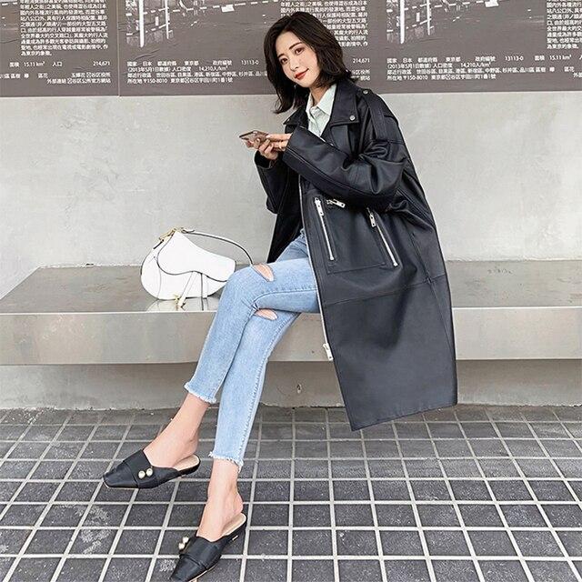 Nerazzurri surdimensionné noir long printemps femmes veste en cuir à manches longues goutte épaule fermeture éclair grande taille en vrac faux cuir manteau 4