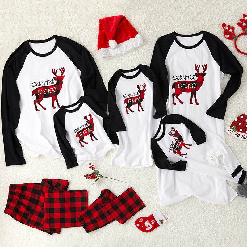 Family Christmas Clothing  Pajamas Hot Sale Long Sleeve Cotton Christmas Homewear Family Set Adult Kids Warm Casual Clothes