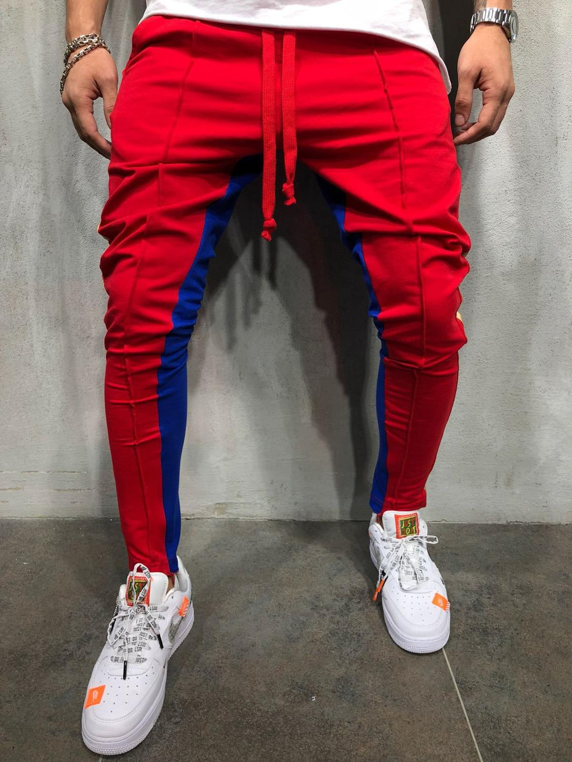 'Muscle Brother Color Hip-hop Little Foot Hot Style Men's Tether Casual Track Pants Full Length Pencil Pants