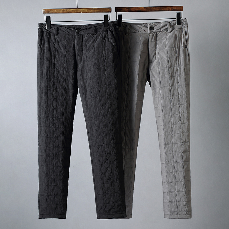 JSBD High-end Outdoor Windproof And Waterproof Quilted Quilting Quilted Winter Men Wear Straight Down Trousers For Warmth