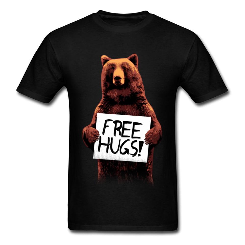 Print Free Hugs Mugshot T Shirts Bear Funny Crewneck Tops Tees Pure Cotton Mens Normal Tops T Shirt High Quality Clothes