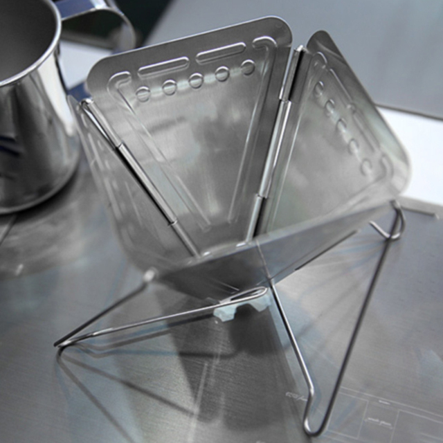 Cuisine pliant Portable extérieur professionnel avec outil de support dégouttement réutilisable sûr café filtre Camping acier inoxydable