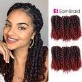 Самкоса оптом синтетические волосы 8 дюймов 3 шт./компл. афро кудрявые крючком волосы для наращивания Marlybob вязание крючком плетение волос