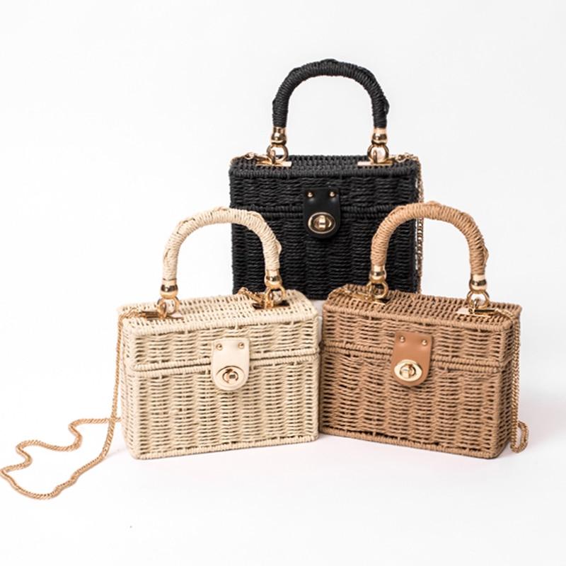 Новая черная соломенная сумка на плечо из ротанга, Женская Ручная сумка-мессенджер, летняя пляжная квадратная соломенная сумка для леди, Bolsa...