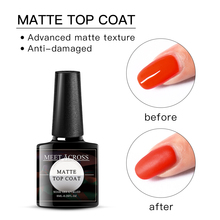 MEET ACROSS Matte Gel Varnish Soak Off UV LED Gel Nail Polish Base Coat No Wipe Top Color Gel Polish Primer 86102 soak off primer gel gdcoco 8ml nail polish base coat top coat matte gel varnish ultra bond no acid primer hybrid basegel