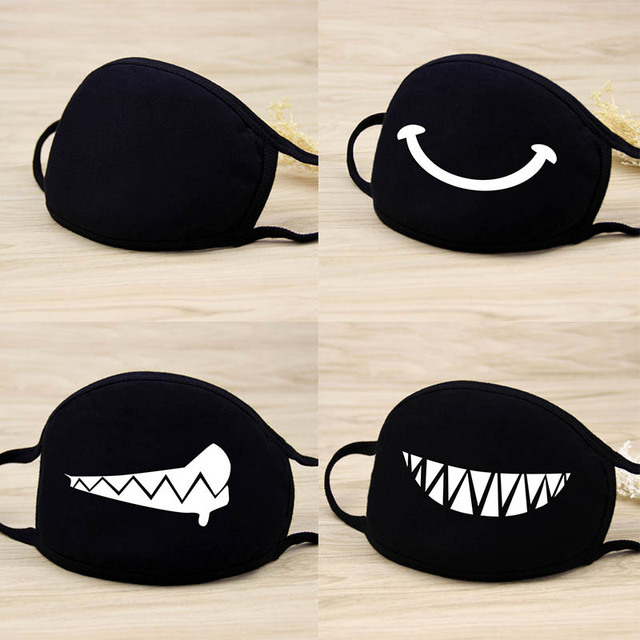 Cute Cartoon Funny Mouth Face Mask Unisex Keep Warm Black  Thicken Mouth Mask Lucky Bear Women Men Soft Anti-Fog Anti-Dust Mask 3