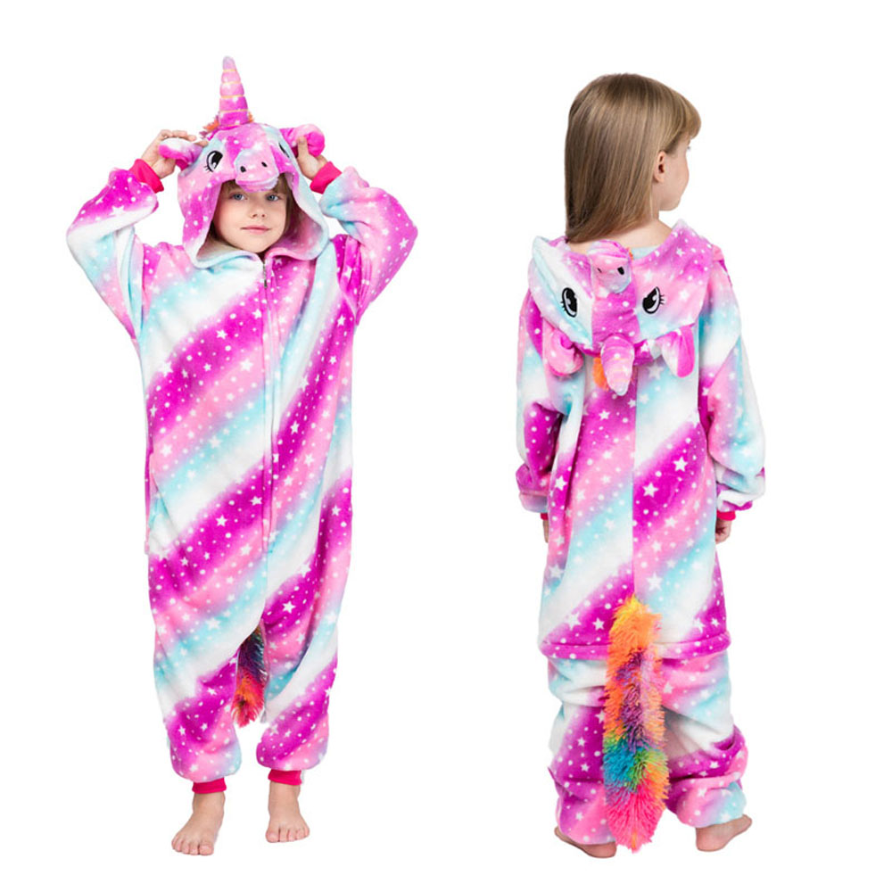 kids winter stich pajamas children panda dinosaur sleepwear unicorn kigurumi onesies for boys girls blanket sleeper baby costume 4