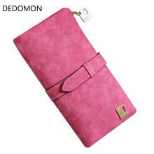 2019 Solid Drawstring Nubuck Leather Zipper Long Women Wallet Phone Bag Luxury Brand Wallets Designer Purse Card Holder Clutch