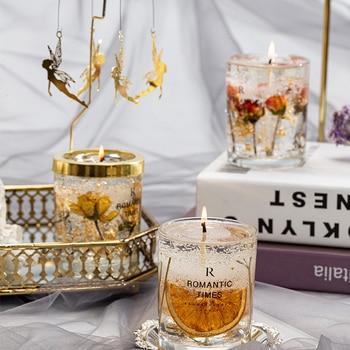Flower Fruit Essential Oil Scented Transparent Gold Foil  Candle 2