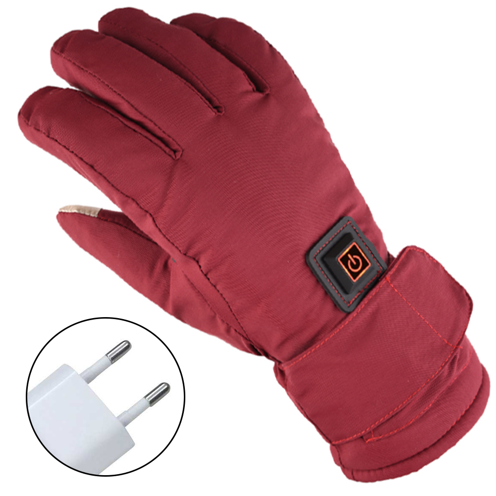 1 Pair Women Anti Slip Walking Outdoors Three Levels Adjustable Electric Heated Gloves Winter Rechargeable Batteries Waterproof