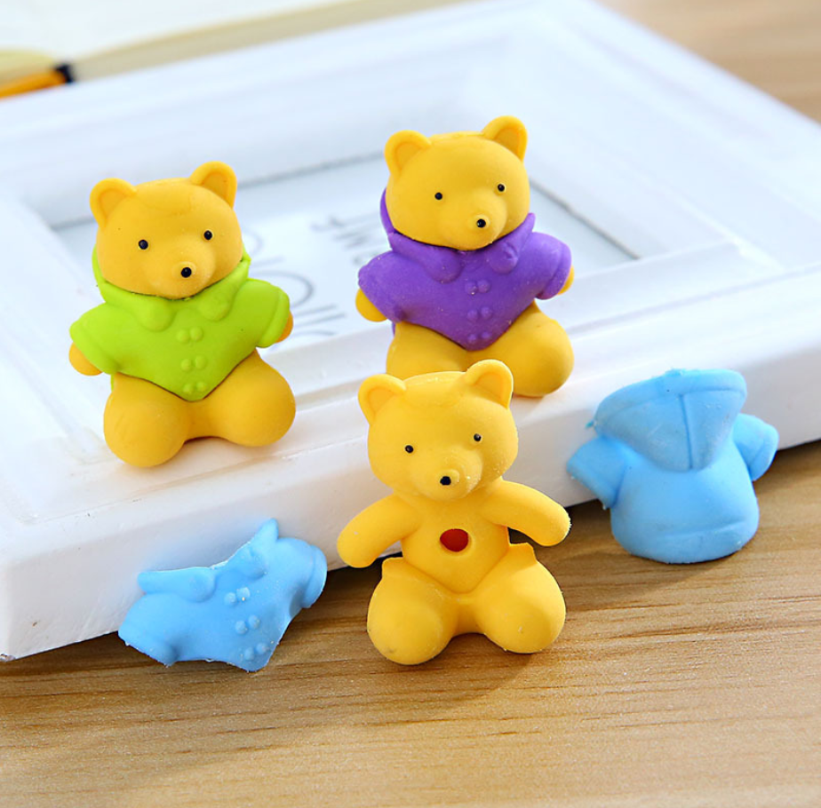 Cute Teddy Bear Pens Eraser Kawaii Pencil Erasers For Kids Rubber Stationery School Supplies Student Prizes Gifts