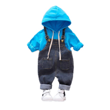 Spring Autumn Children Kids Clothes Baby Boy Girls Hooded T Shirt Pocket Overalls 2 Pcs/sets Toddler Clothing Infant Tracksuits autumn children clothing sets newborn infant long sleeve baby boy letters printing t shirt stripe pants kids clothes 2 pcs sui