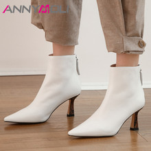 ANNYMOLI Winter Ankle Boots Women Natural Genuine Leather Kitten High Heel Short Boots Zip Pointed Toe Shoes Ladies Fall Size 39 annymoli winter ankle boots women rhinestone stiletto high heel short boots zip pointed toe shoes ladies autumn plus size 34 43