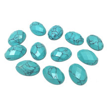 цена 10Pcs Section Surface Natural Stones blue turquoise Stone Stone Cabochon No Hole Beads for Making Jewelry DIY accessories онлайн в 2017 году