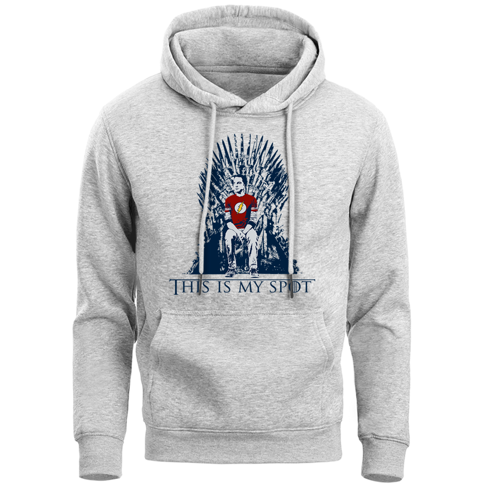 The Big Bang Theory & Game Of Thrones Funny Hoodie Sweatshirt Men Sheldon Sitting Iron Throne Hoody 2019 Warm Fleece Streetwear