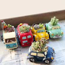 Creative potted ornaments resin flowerpots fleshy green plant flowerpot retro car styling office home desktop potted ornaments