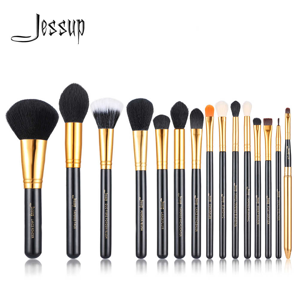 Jessup 15 Pcs Makeup Brushes Set Kuas Make Up Kosmetik Kecantikan Bubuk Foundation Eyeshadow Eyeliner Bibir Sikat Alat Hitam/ emas