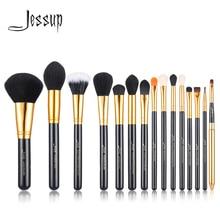 Jessup Juego de brochas de maquillaje, 15 Uds., maquillaje cosmético, polvo de belleza, base, sombra de ojos, pinceles para labios y delineador, herramienta negra/dorada