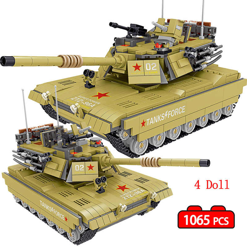 1065PCS Military China 96A Main Battle Tank Building Blocks Compatible Legoing Army Soldier Weapon Bricks Educational Boy Toys