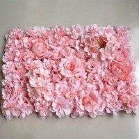 Arreglo con flores artificiales, Hortensia rosa, panel de pared, alfombrillas de flores, decoración de boda, tienda, flor de seda de decoración